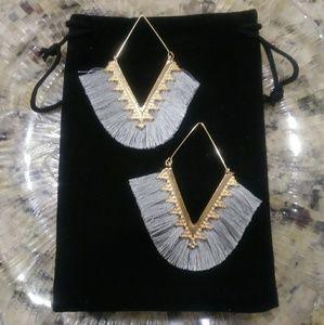 Boho V Shaped Tassel Gray Earrings